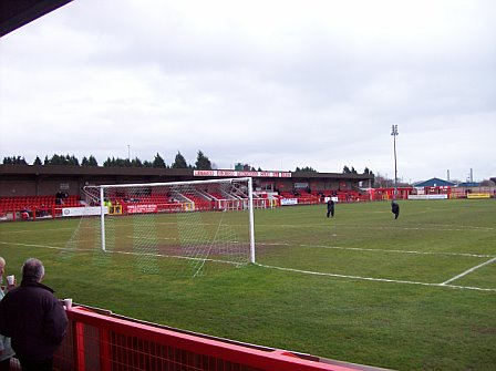 View from behind the goal looking at the main stand