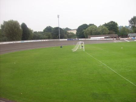 Behind the goal at the Lyme Valley Stadium